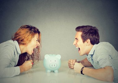 Finances in divorce concept. Wife husband can not make settlement