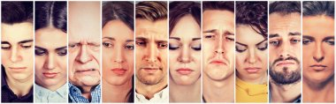 Group of sad people men and women