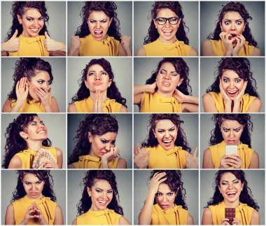 Collage of a young woman expressing different emotions and feelings
