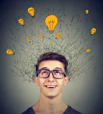 Brain connections. Excited man looking up at many ideas light bulbs above head isolated on gray wall background. Eureka concept stock vector