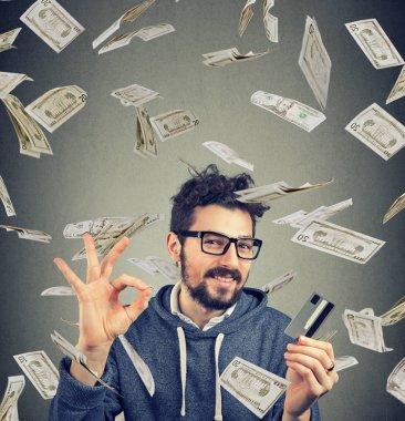 Content man having money compensation