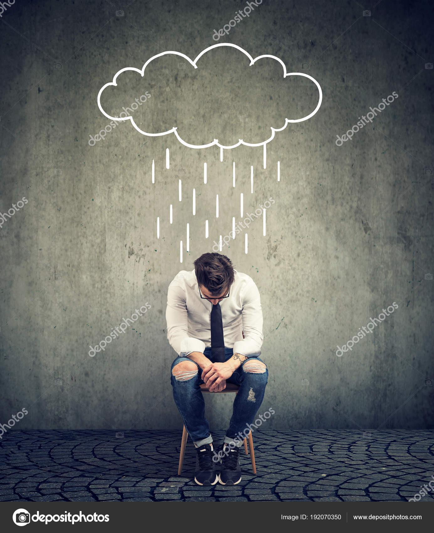 Sad Man Sitting In The Rain Sad Business Man Sitting On A