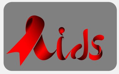 World Aids Day, Aids Awareness Red Ribbonto form lettering aids. World Aids Day concept. Vector Illustration