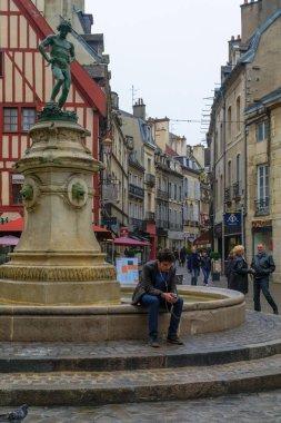 Francois-Rude square and the wine maker statue, in Dijon