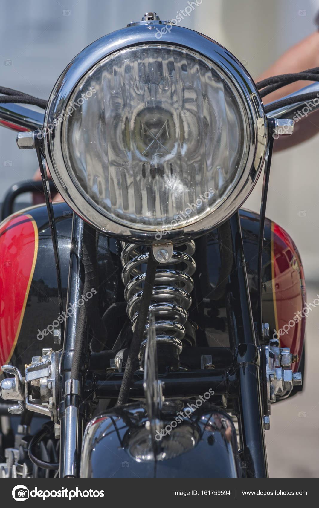 A Headlight In A Vintage Motorcycle Stock Photo C Helinek 161759594