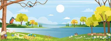 Panorama of spring village with Kingfisher bird standing on branches tree and wild flowers next to river, Vector Summer or Spring landscape, Panoramic countryside landscape grass field