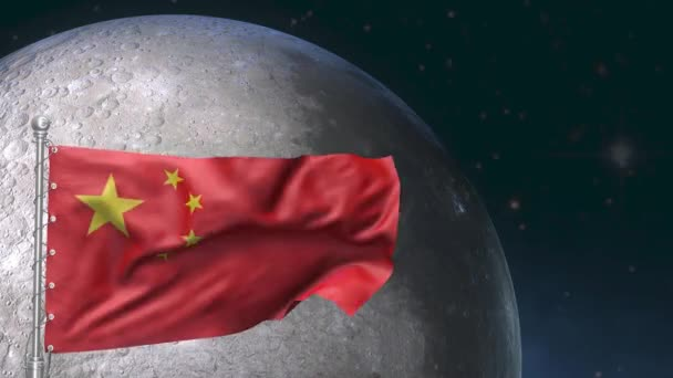 Epic view of China flag over the moon. moon exploration mission symbol.