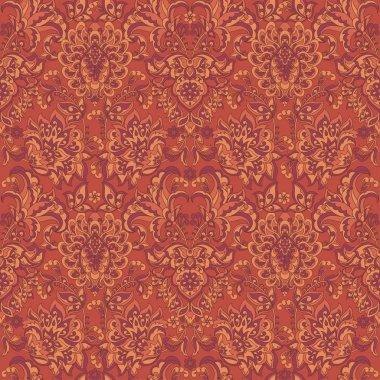 Damask style vintage floral seamless pattern