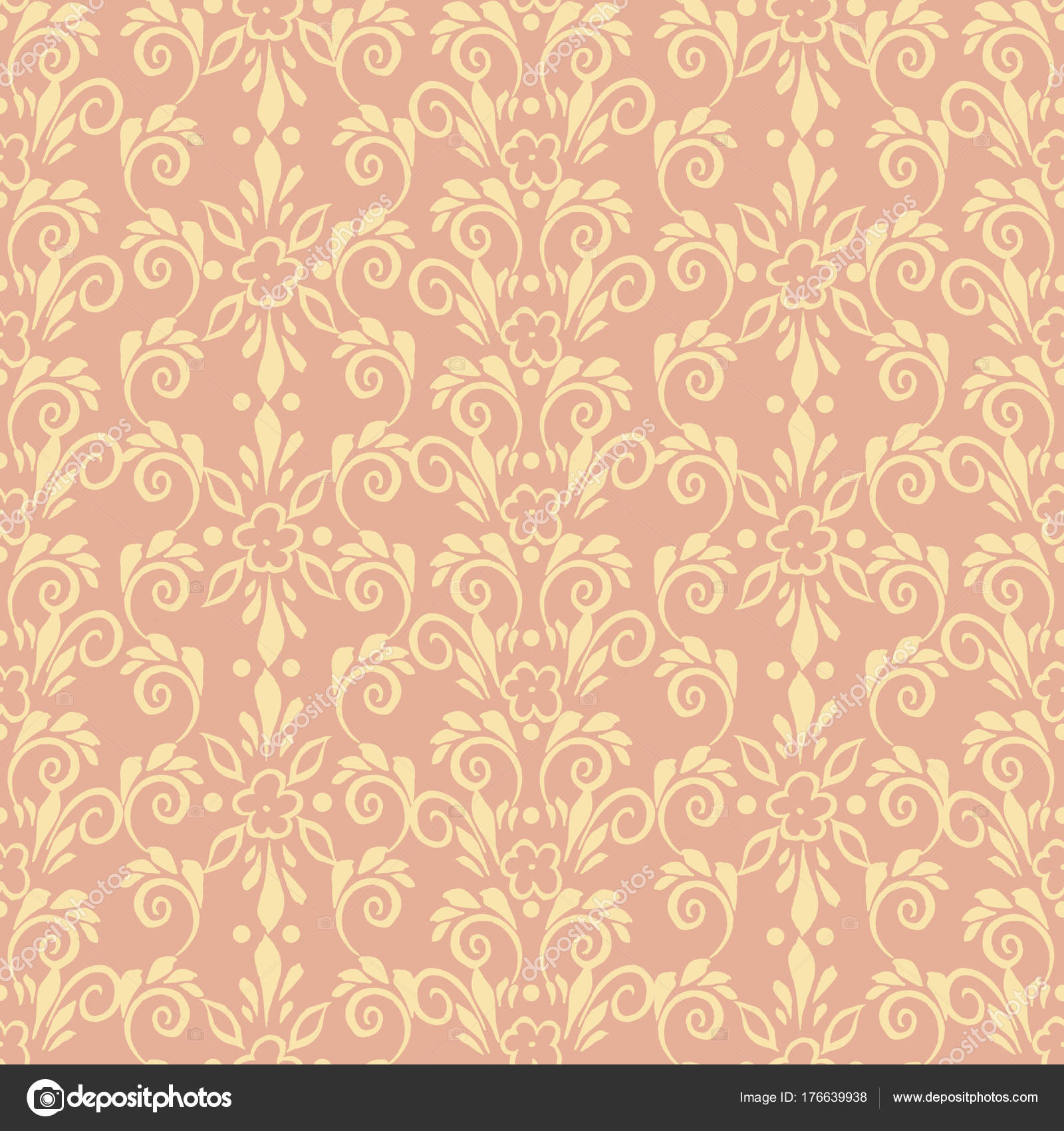 Patrón Floral De Estilo Retro Wallpaper Vector De Stock