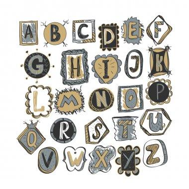 colorful hand drawn doodle alphabet.