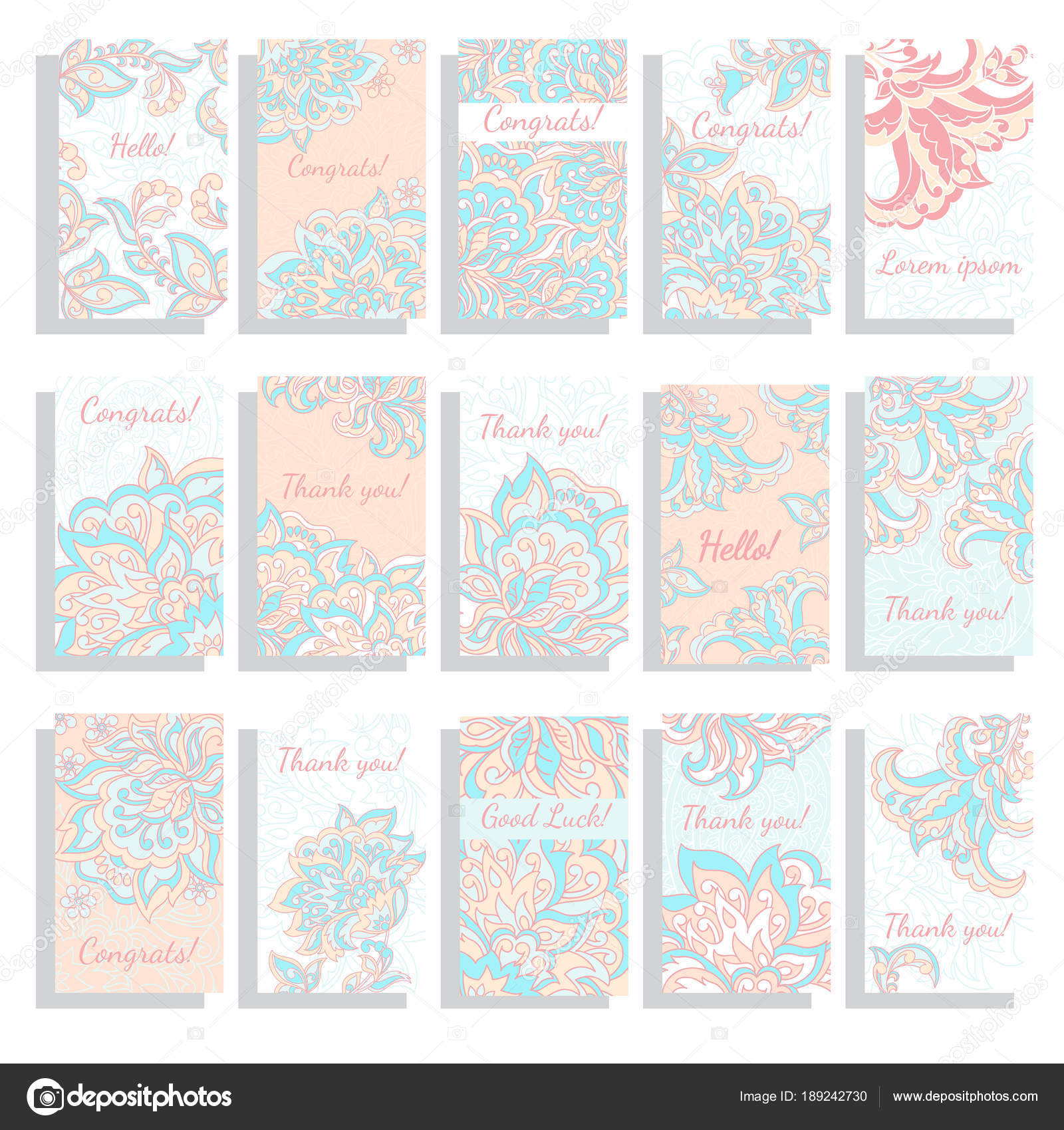 Set Of Templates Vector Floral Background For Greeting Card