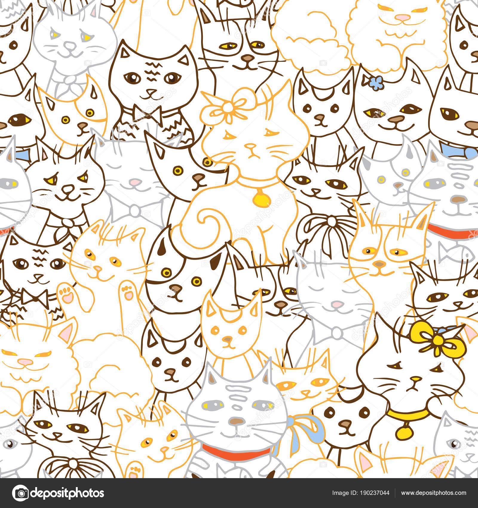 patrones sin fisuras los gatos lindos — Vector de stock © meduzzza ...