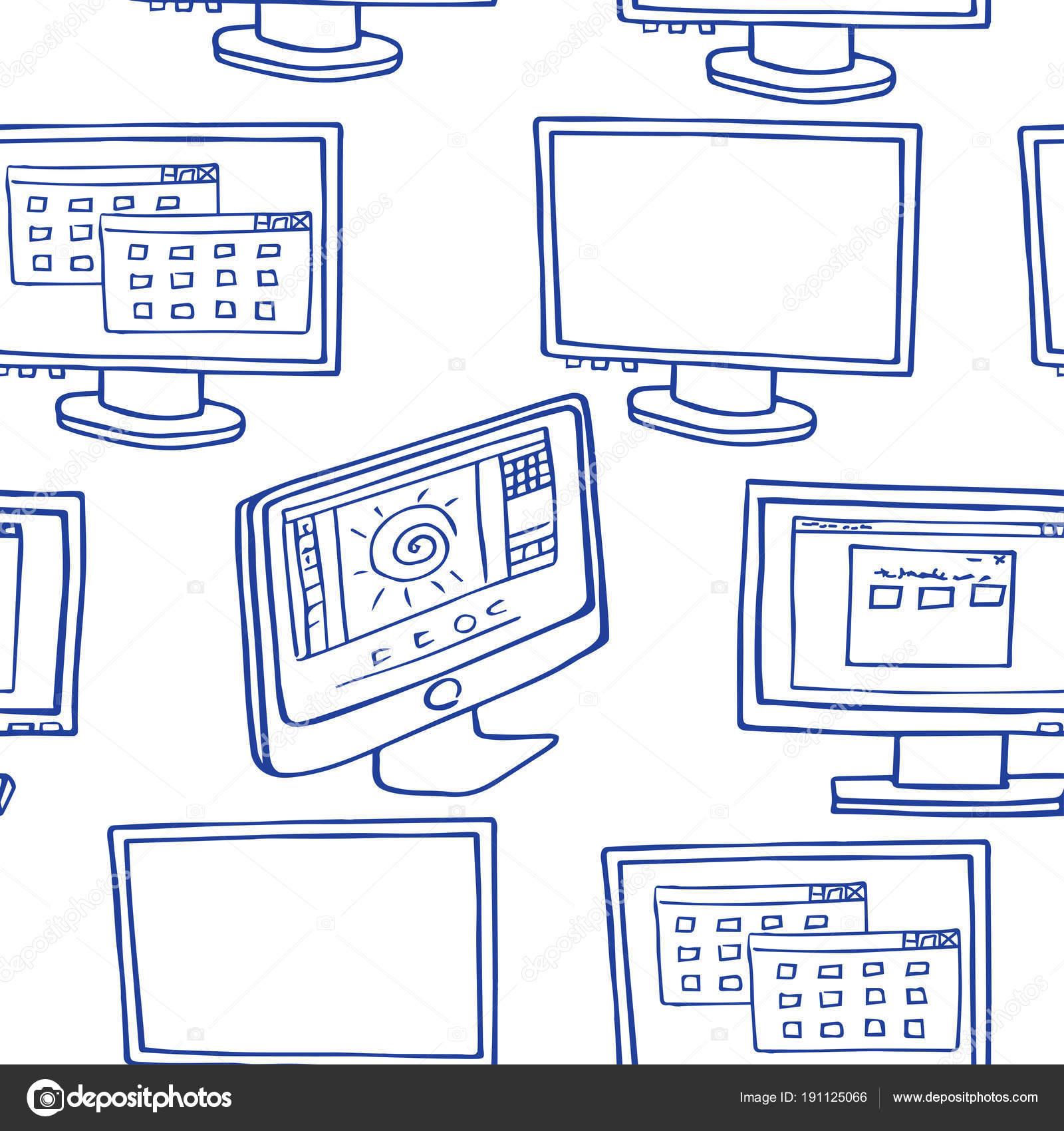 Imágenes Monitor De Computadora Para Colorear Bosquejo Con