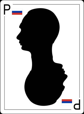 Vladimir Putin profile is on the playing card with Russia flag as card suit