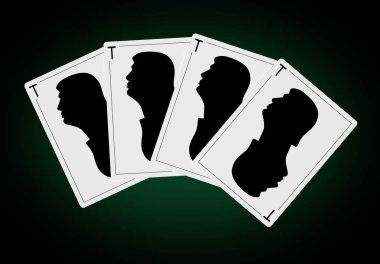 Playing cards form a poker hand