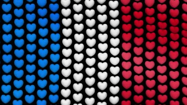France flag is waving in the wind, consisting of hearts, on a black screen. Seamless looping video.