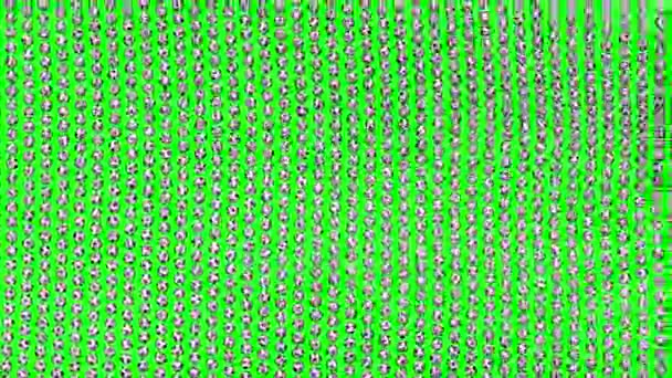 Soccer balls forming fabric flag. Looped video. Green screen.
