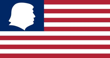 Februry 5, 2017. US President Donald Trump right profile and American flag.