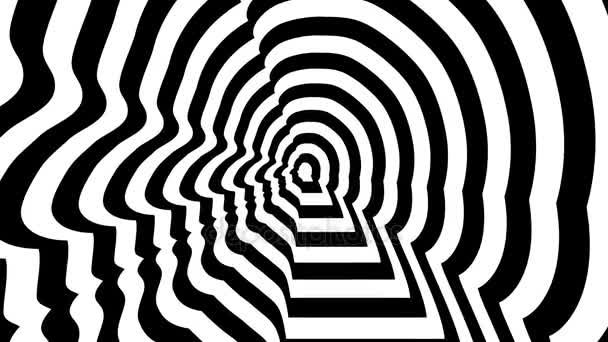 Concentric oncoming symbol, Francois Hollande profile - optical, visual illusion. 3D rendering looping animation.