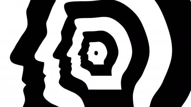 Koncentrikus szembejövő szimbólum, Marine Le Pen profil - optikai, látási illúzió. 3D rendering hurkolás animáció.