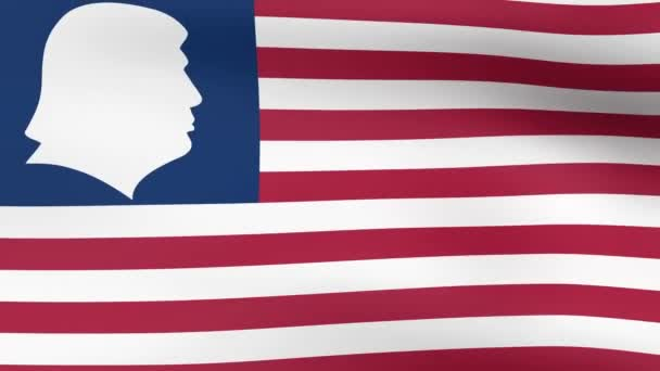 Silhouette American President Donald Trump on the US flag, waving in the wind. 3D rendering looping animation.