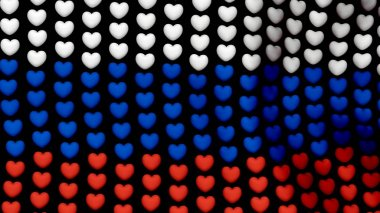 Russia flag is waving in the wind, consisting of large hearts, on a black background. 3D rendering image. Election symbols forms flag of of Russia.