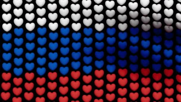 Russian flag is waving in the wind, consisting of large hearts, on a black background. Seamless looping video. 4K 3D render. Black screen.