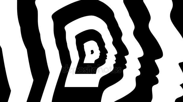 Soustředné blížící symbol, Kim Čong un silueta správný profil - optické, vizuální iluze. 3D vykreslování opakování animace. Nejvyšší vůdce lidově demokratická republika Severní Koreje
