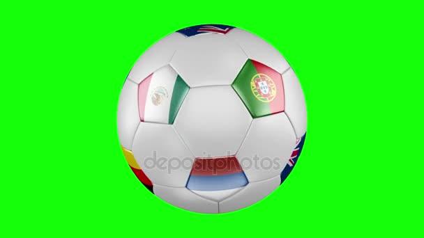 Konföderációs kupa 2017. A végtelenített spin, a futball-labda, zászlókkal, Oroszország, Németország, Ausztrália, Chile, Mexikó, Új-Zéland, Portugália és Kamerun. 4k, 3840 x 2160. Varrat nélküli hurkolás video. 3D-leképezést. Zöld képernyő.