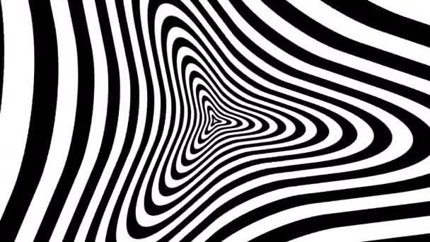Optikai, látási illúzió, bejárat az alagút. Koncentrikus szembejövő fekete-fehér absztrakt minta - tárcsa. 3D-leképezést. 4k, 3840 x 2160. Varrat nélküli hurkolás videóinak.