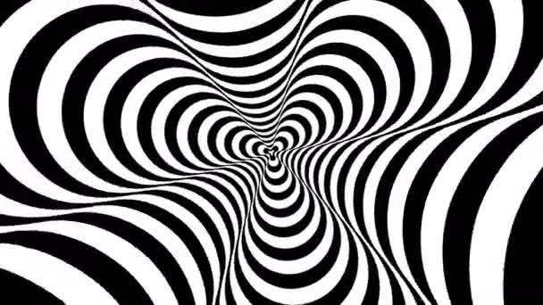 Optické, vizuální iluze, vchod do tunelu. Soustředné blížící abstraktní černobílý vzor - číselník. 3D vykreslování. 4k, 3840 x 2160. Plynulé opakování videa.