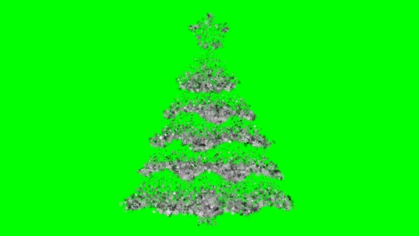 Christmas tree with star consisting of flickering snowflakes on a green  background  Optimal for using in screen mode  4K, 3840x2160  Looped video