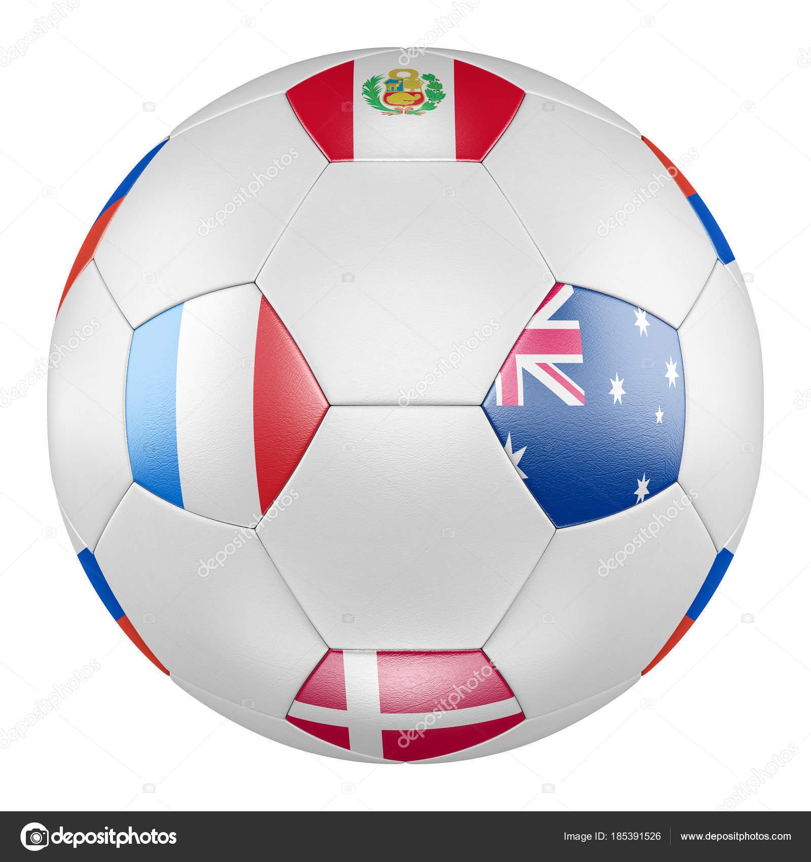 D Voetbal Met Groep C Vlaggen Van Denemarken Frankrijk Australie Peru Op Witte Achtergrond Match Tussen Frankrijk En Australie Foto Van Lvv