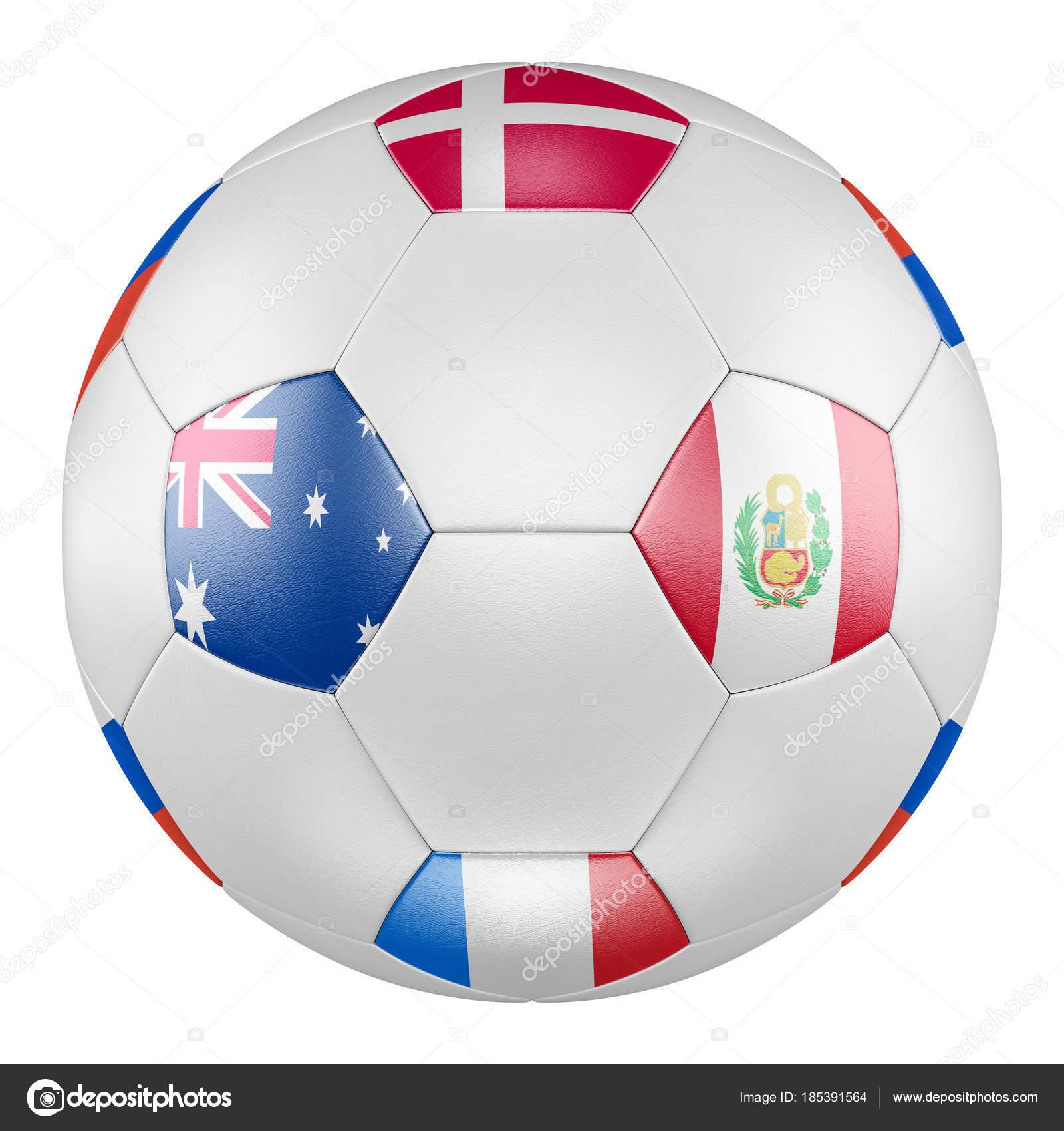 D Voetbal Met Groep C Vlaggen Van Denemarken Frankrijk Australie Peru Op Witte Achtergrond Match Tussen Australie En Peru Foto Van Lvv