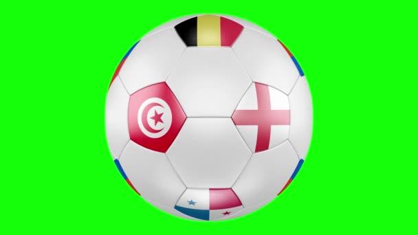 3D fotbalový míč s skupiny G příznaky z Belgie, Panama, Tunisko, Anglie izolované na zelené obrazovce. Fotbalové Rusko 2018. Jejich všechny zápasy v pořadí podle plánu. 4k, 3840 x 2160. Cyklických video