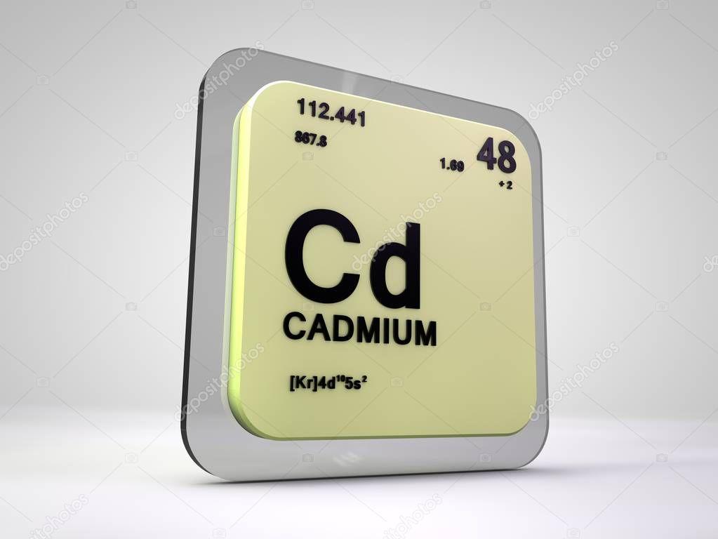 Cadmium - Cd - chemical element periodic table 3d render ...