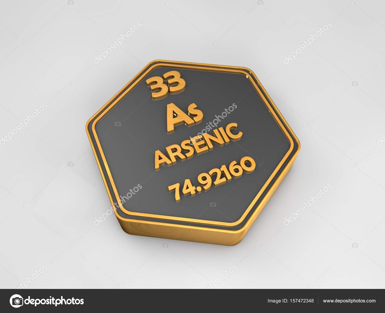 Arsenic Ar Chemical Element Periodic Table Hexagonal Shape 3d