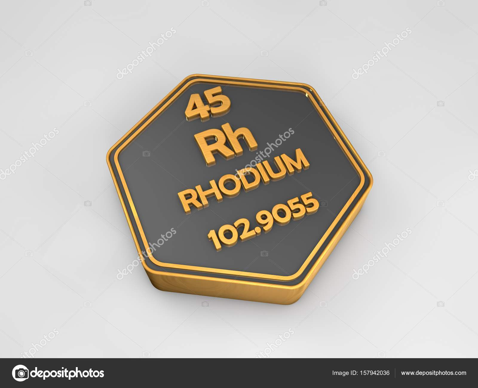 Rhodium rh chemical element periodic table hexagonal shape 3d rhodium rh chemical element periodic table hexagonal shape 3d render stock photo gamestrikefo Image collections