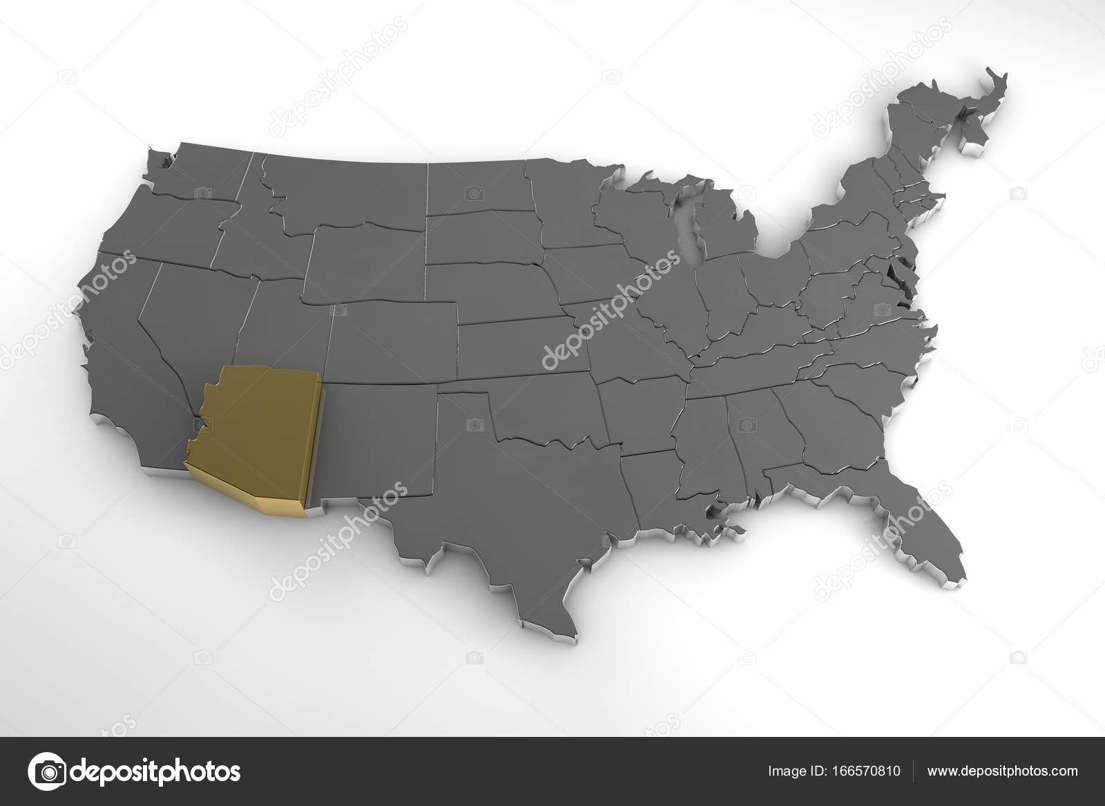 3d Map Of Arizona.United States Of America 3d Metallic Map Whith Arizona State