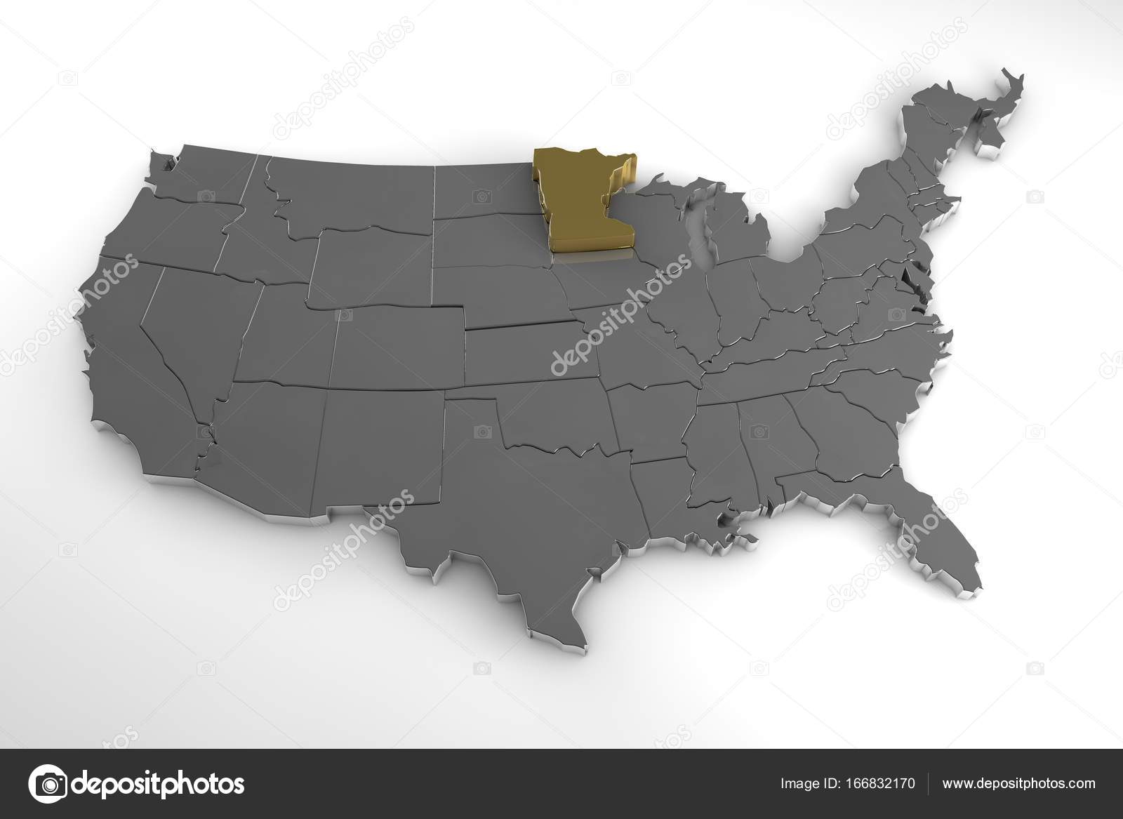 United States of America, 3d metallic map, with minnesota ...