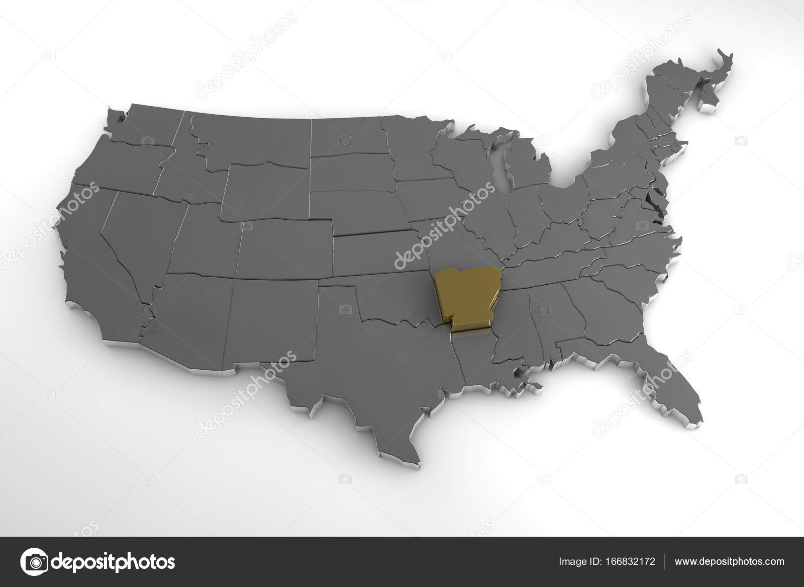 United States of America, 3d metallic map, with Arkansas ...