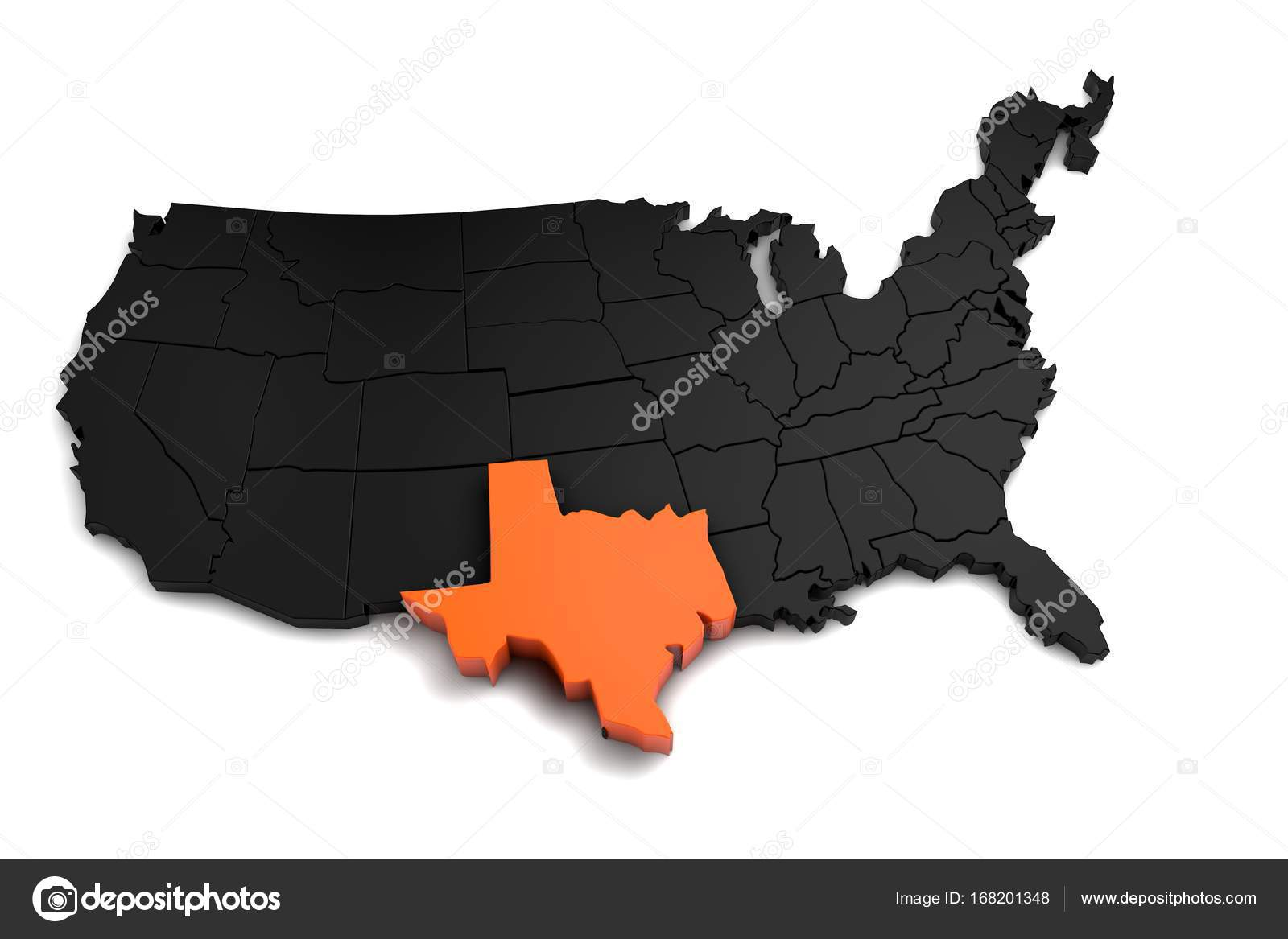 3d Map Of Texas.United States Of America 3d Black Map With Texas State Highlighted