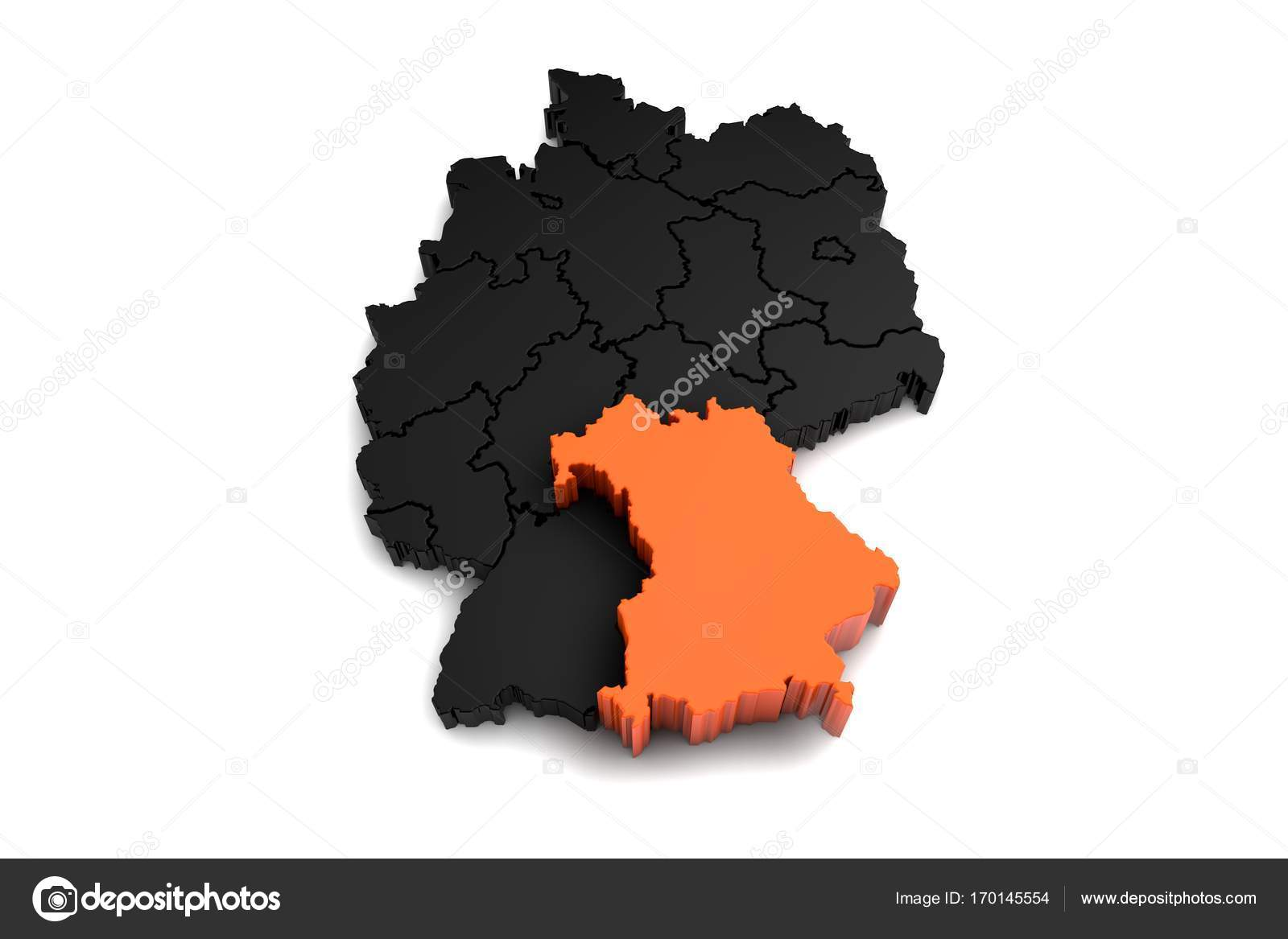 Black germany map with bayern region highlighted in orange3d black germany map with bayern region highlighted in orange3d render photo by viking75 gumiabroncs Choice Image