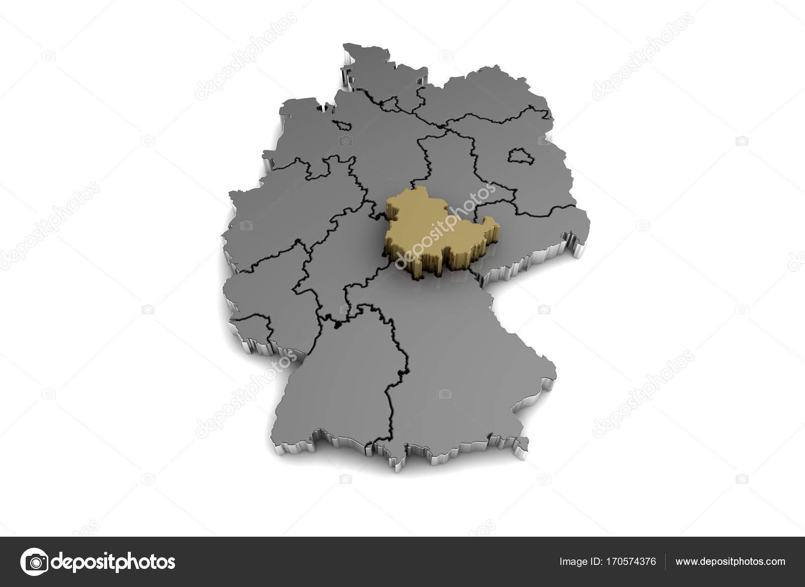 Carte Allemagne Thuringe.Allemagne Carte Avec La Region De Thuringe A Mis En Evidence Dans
