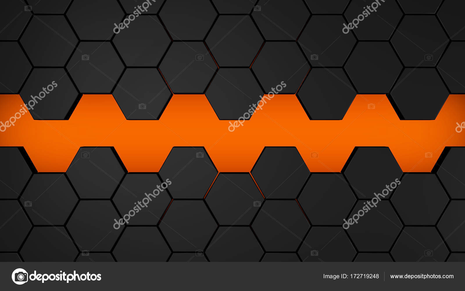 Black Background Orange Hexagon Pattern Abstract Design Technology Modern Texture Wallpaper Shape Digital Network Tech Illustration Surface