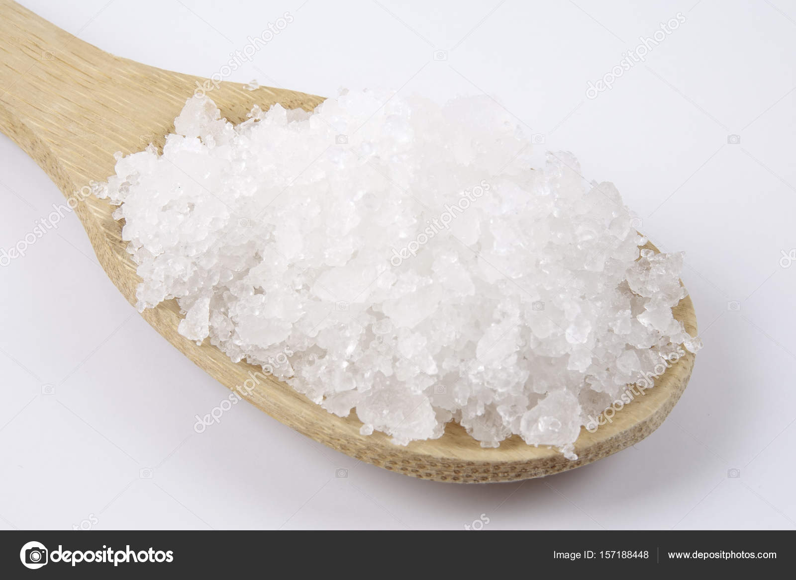 Sea Salt Wooden Spoon Also Called Bay Salt Solar Salt
