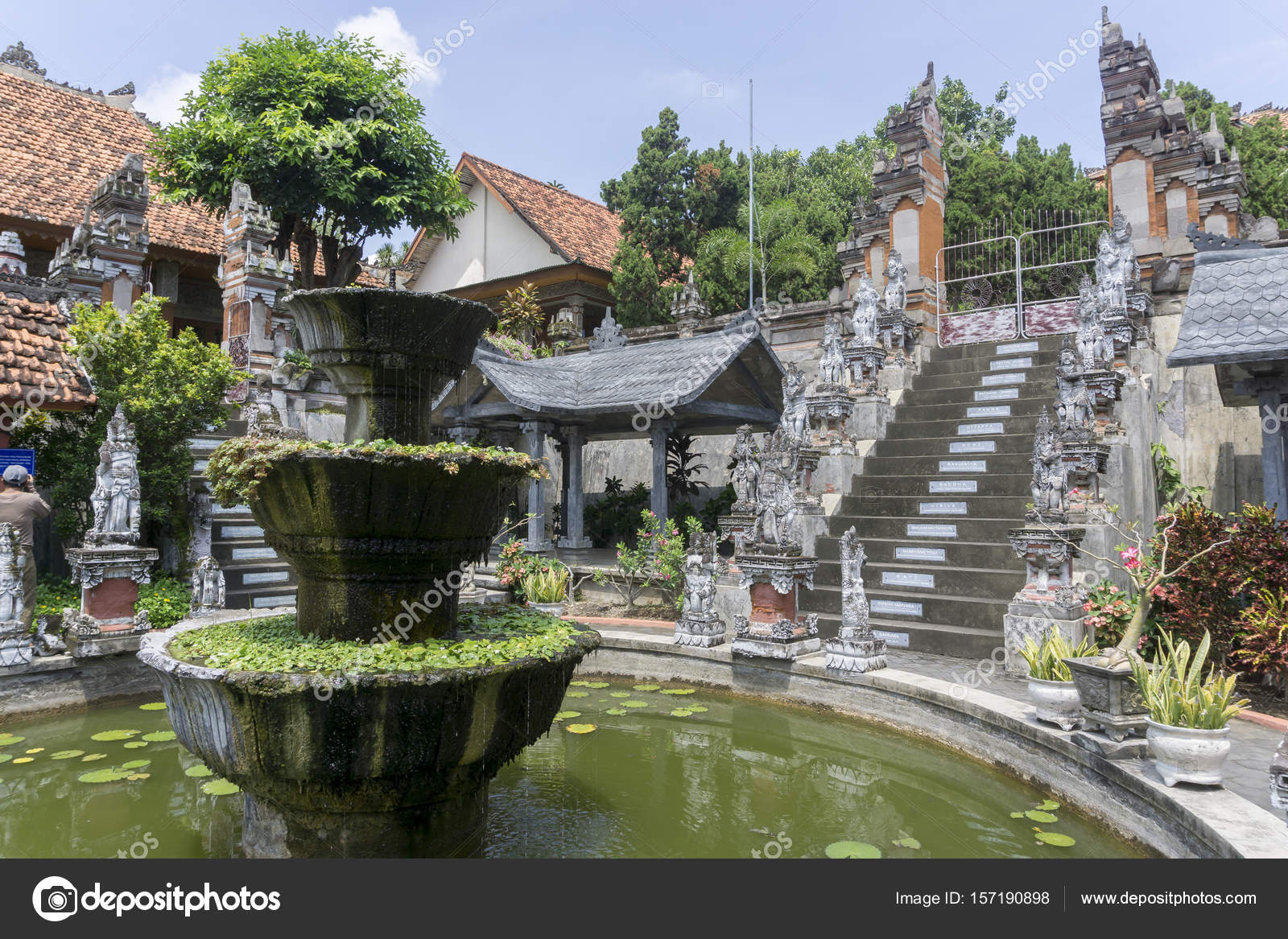 BALI, INDONESIA , CIRCA APRIL 2016. traditional temple Lempuyang on Agung mount background