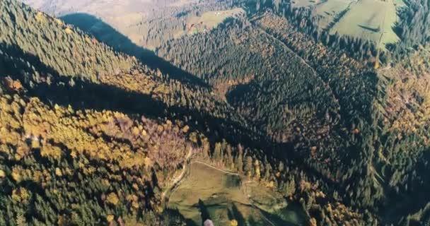 Podzimní barevný les s výhledem na pestrobarevné podzimní stromy, pole, údolí při západu slunce u obce Verchovyna Karpaty, Ukrajina. Majestátní krajina. Krásný svět. 4K