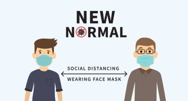 New normal after the epidemic the Covid-19. Social distancing. Space between people to avoid spreading COVID-19 Virus. Keep the 1-2 meter distance. Wearing face mask. Vector illustration