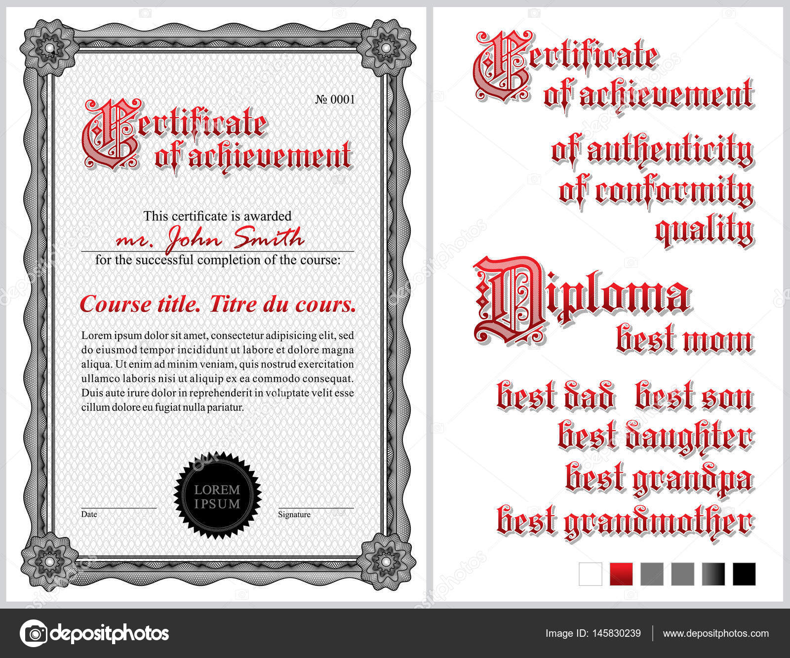 Black and white certificate template guilloche vertical black and white certificate template vertical additional design elements vector by domenick yadclub Image collections